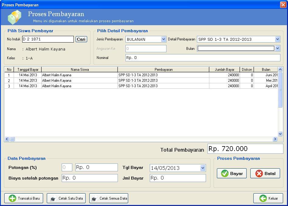 ... Pembayaran SPP Sekolah | Software Aplikasi Toko, Apotek/Apotik, Klinik