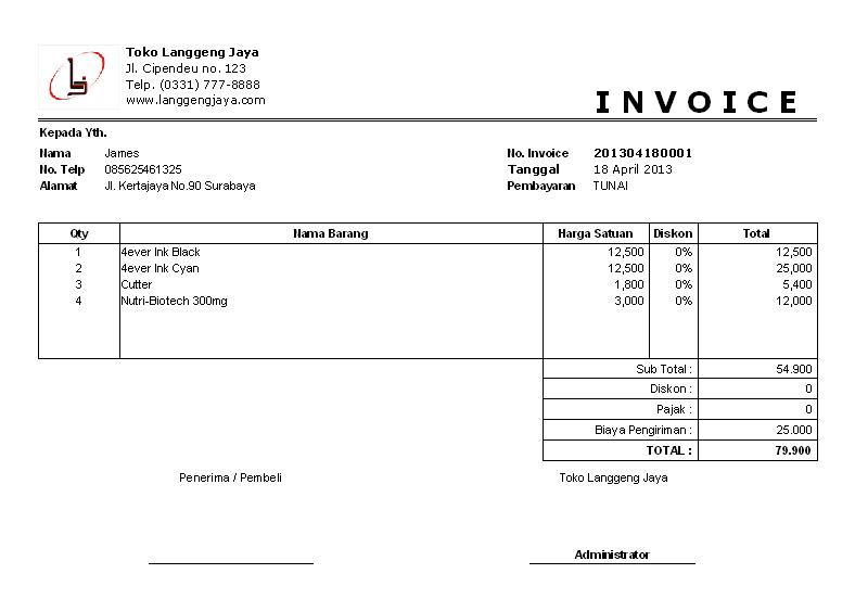 Software Toko Penjualan Dilengkapi Cetak Invoice Surat