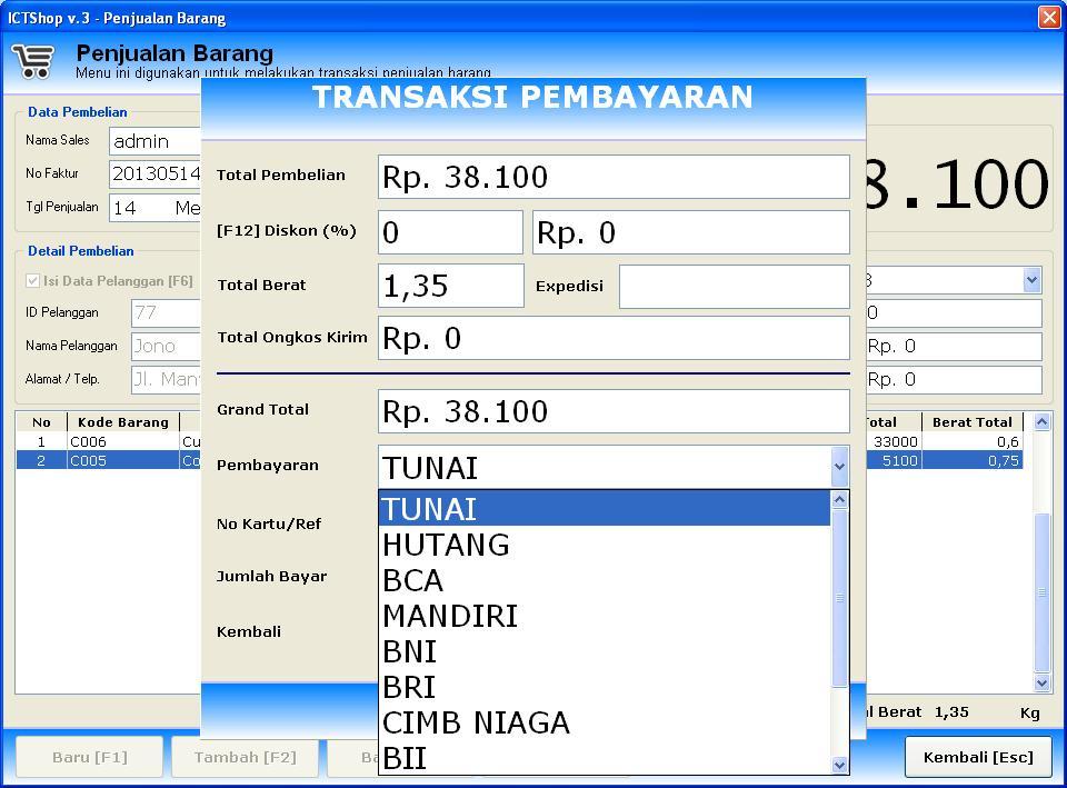 program penjualan versi 3 - multi payment (pembayaran)