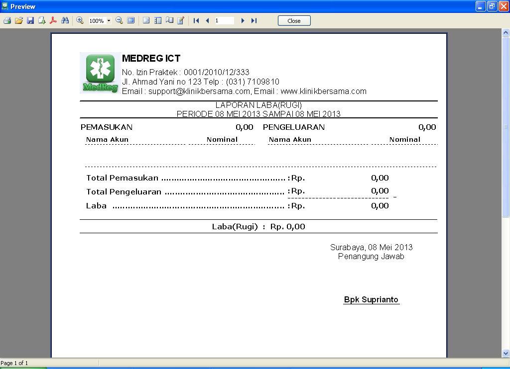 Software Klinik - Laporan Laba-Rugi Harian