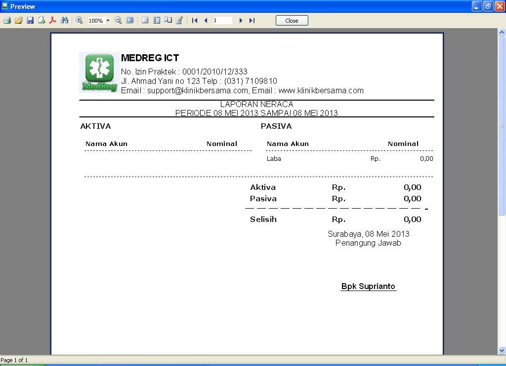 Software Klinik - Laporan Neraca Keuangan Harian